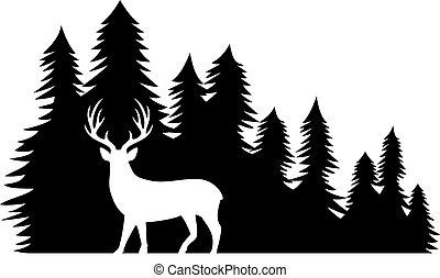 őz, táj, vektor, ábra, erdő