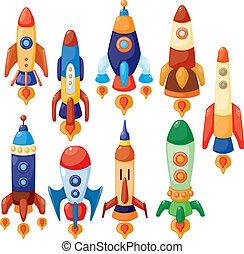 űrhajó, karikatúra, ikon
