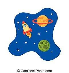 űrhajó, rakéta, mód, katapultszerkezet, lakás, színhely, világegyetem, ikon
