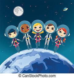 űrhajós, álmodik, gyerekek
