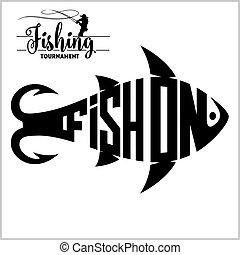 -, ábra, vektor, halászat, jel, részvény