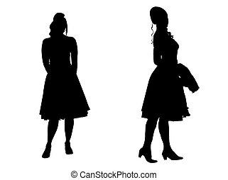 -, árnykép, young women