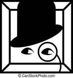 -, úriember, ikon, cvikker, henger, fehér, szemek, egyszerű, fekete