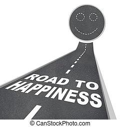 -, arc, útburkolat, utca, boldogság, mosolygós, út