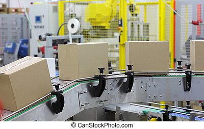 -, automatizálás, öv, dobozok, kézbesítő