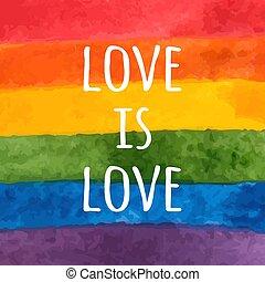 -, card., szeret, rainbow., flag., slogan., büszkeség, vektor, vízfestmény, festett, lgbt, kéz, nap, ábra, tolerancia