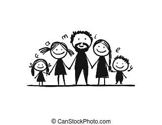 -e, család, boldog, együtt, skicc, tervezés