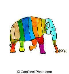 -e, elefánt, furcsa, tervezés, csíkos