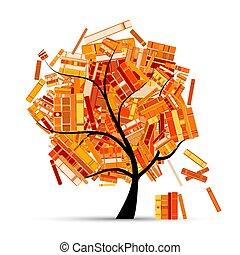 -e, fa, design., előjegyez, évad, könyvtár, ősz