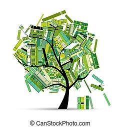 -e, fa, design., előjegyez, évad, könyvtár, eredet
