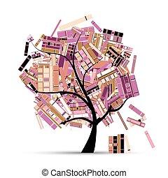 -e, fa, design., előjegyez, évad, könyvtár, nyár