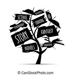 -e, fa, könyvtár, tervezés, előjegyez