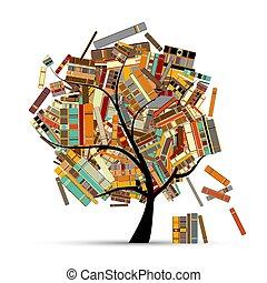 -e, fa, tervezés, előjegyez, könyvtár