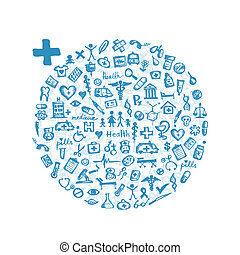 -e, keret, tervezés, orvosi icons