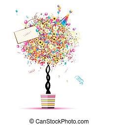 -e, léggömb, ünnep, furcsa, fa, boldog, edény, tervezés