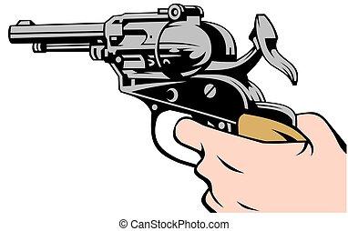 -e, pisztoly, kéz