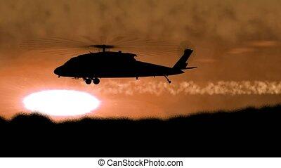 "-e, ""silhouette, őt keletkezik, hegy, helikopter, hadi, side"", havibaj"