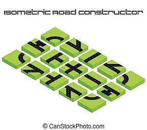 -e, város, isometric, vektor, utca, ügy, alkot, map., felszerelés, infographic, constructor., közútak, 3, vagy, design.