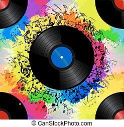 -e, zene, vektor, vízfestmény, vinyl, struktúra, kreativitás, motívum, splash., szivárvány, hanglemez, zenés, seamless, hangjegy