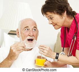 -, egészség, tart gyógyszer, otthon, ápoló