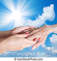 -eik, caregiver., nő, ember, idősebb ember