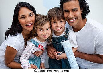 -eik, festmény, mosolygós, szülők, gyerekek, szoba
