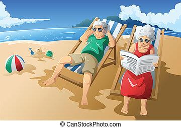 -eik, idősebb ember, élvez, párosít, visszavonultság