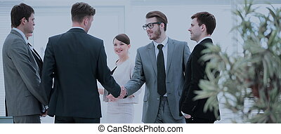 -eik, társ, assistants., üzletfél, köszönés