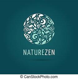 -, füvészkönyv, vektor, orvosság, elmélkedés, yang, jel, zen, yin, ikon, kínai, fogalom, választás, wellness