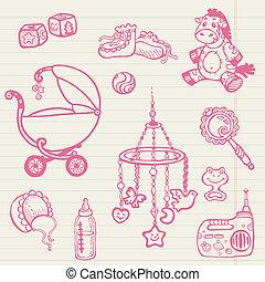 -, gyűjtés, kéz, vektor, doodles, csecsemő, húzott