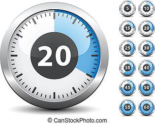 -, időzítő, egy, vektor, mind, cserél, könnyen, idő, perc