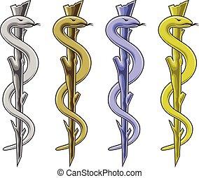-, jelkép, orvosi, rúd, asclepius