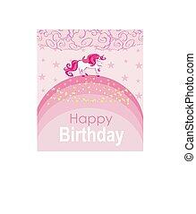 -, kártya, egyszarvú, szivárvány, gyalogló, szöveg, születésnap, állás, -e, csinos
