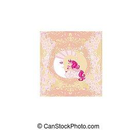 -, kártya, egyszarvú, varázslatos, hold, elvont, pasztell, csinos, háttér