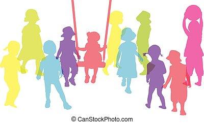 -, körvonal, conceptual., csoport, gyerekek