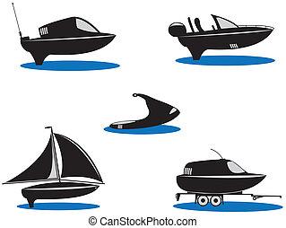 -, körvonal, vektor, öt, sport, csónakázik