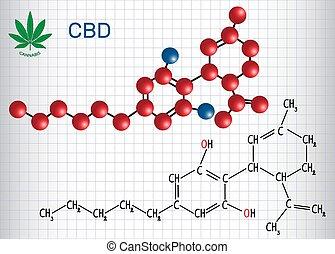 -, kap, dolgozat, model., képlet, ív, szerkezeti, kender, cannabidiol, kalitka, cannabinoid, kémiai, aktivál, molekula, effects., antipsychotic, (cbd)