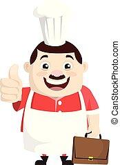 -, kiállítás, karikatúra, kövér, furcsa, szakács, lapozgat feláll