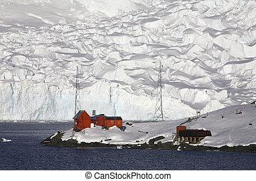 -, kutatás, antarktisz, alap, paradicsom öböl, argentin