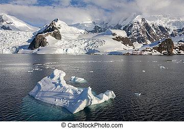 -, kutatás, paradicsom, almirante, antarktisz, öböl, állomás, barna