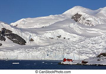 -, kutatás, paradicsom, antarktisz, öböl, állomás, barna