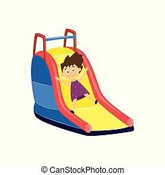 -, leány, karikatúra, haladó, attraction., kevés, boldog, játszótér, betű, lefelé, csúszás, gyermek