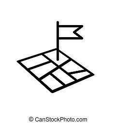 -, lobogó, gombostű, vektor, ábra, térkép, ikon