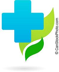 -, orvosi, ikon, kereszt, kék