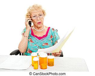 -, orvosi, költségek, senior woman