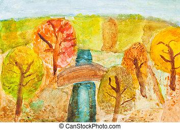 -, rajz, ősz erdő, folyó, gyerekek