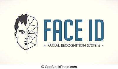 -, rendszer, arc, arcápolás, jel, azonosítás, elismerés, biometric