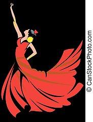 -, táncol, leány, flamenco, piros
