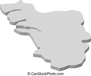 -, térkép, 3d-illustration, goa, (india)