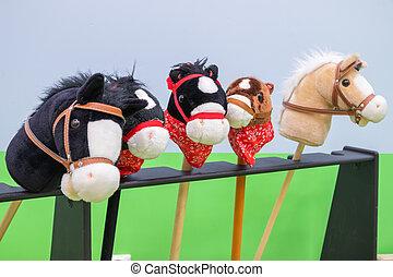 -, többszínű, toys., hobbyhorses, gyerekek, evez